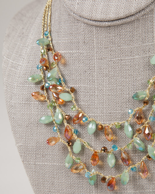 Multi-Strand Tear Drop Necklace -Turquoise & Gold