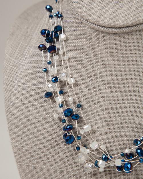 Indigo & Silver Disco Necklace
