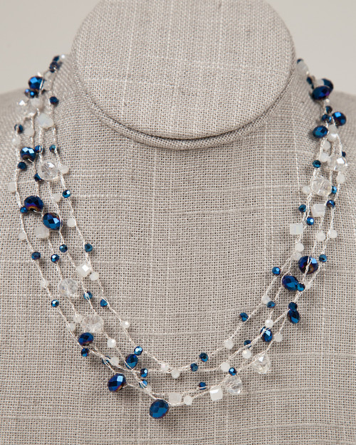 Indigo & Silver Disco Necklace