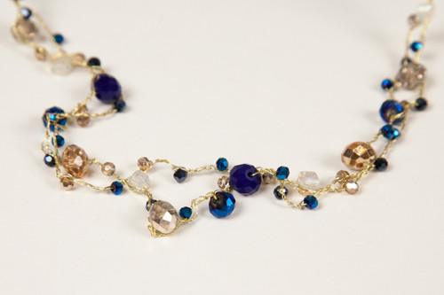 Long Indigo & Gold Disco Necklace
