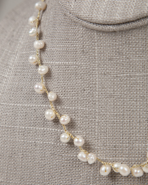 Pebble Stone Pearl Single Strand Necklace - White & Gold