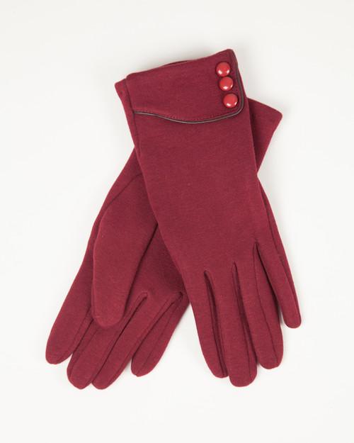 Three Button Gloves - Red