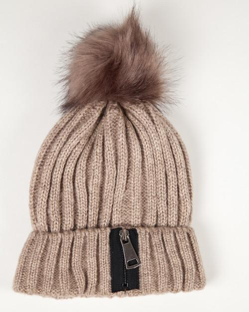 Brown Zipper Pom Pom Hat