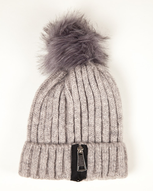 Winter White Zipper Pom Pom Hat