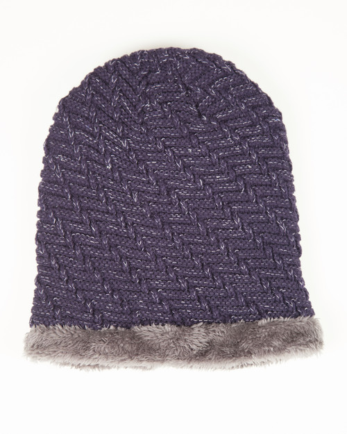 Faux Fur Lined Beanie Hat - Navy