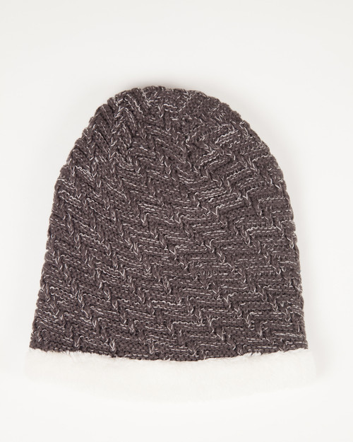 Faux Fur Lined Beanie Hat - Chocolate