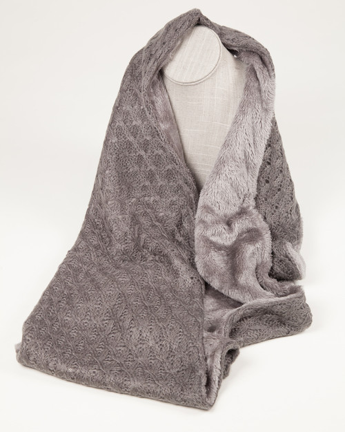 Fine Knit Infinity Scarf with faux fur lining - Gray