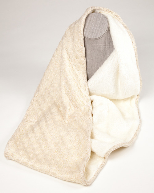 Fine Knit Infinity Scarf with faux fur lining - Winter White