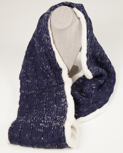 Cable Knit Infinity Scarf - Navy with faux fur lining