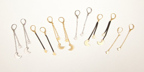 Black & Gold Slider Collection Earrings - Moon & Star