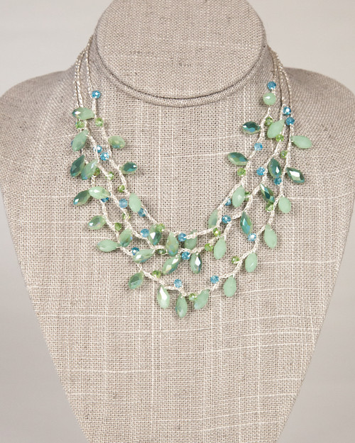 Multi-Strand Tear Drop Necklace -Green