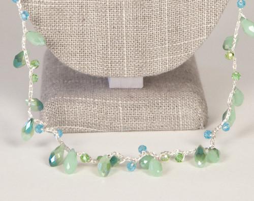Long Tear Drop Necklace - Green