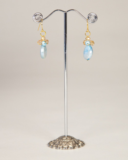 Coin Pearl Earrings - Turquoise