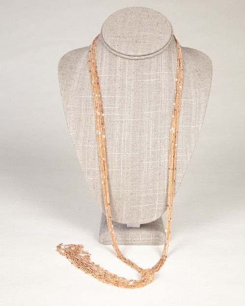 Tassel Knot Necklace-Rose Gold