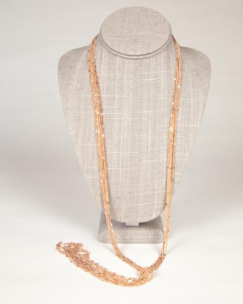 Tassel Knot Necklace-Rose Gold