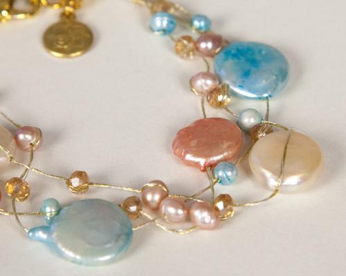 Coin Pearl Bracelet on Silk Thread-Turquoise & Peach