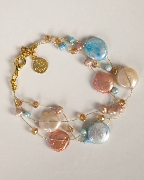 Coin Pearl Bracelet on Silk Thread-Turquoise & Peach