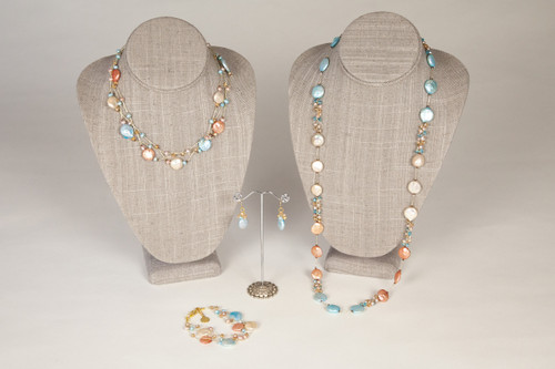 Coin Pearl Necklace on Silk Thread-Turquoise & Peach