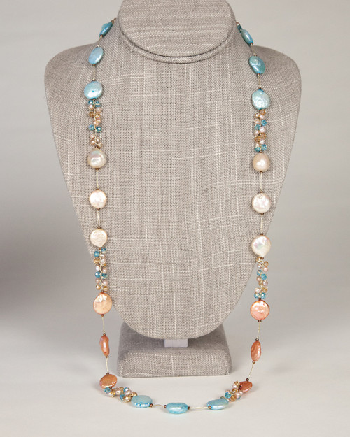 Long Coin Pearl Necklace on Silk Thread-Turquoise & Peach