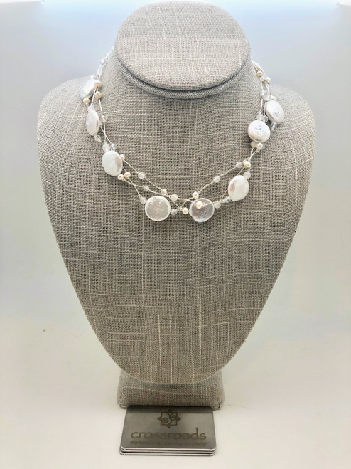 Glass Bead Disks White Silver
