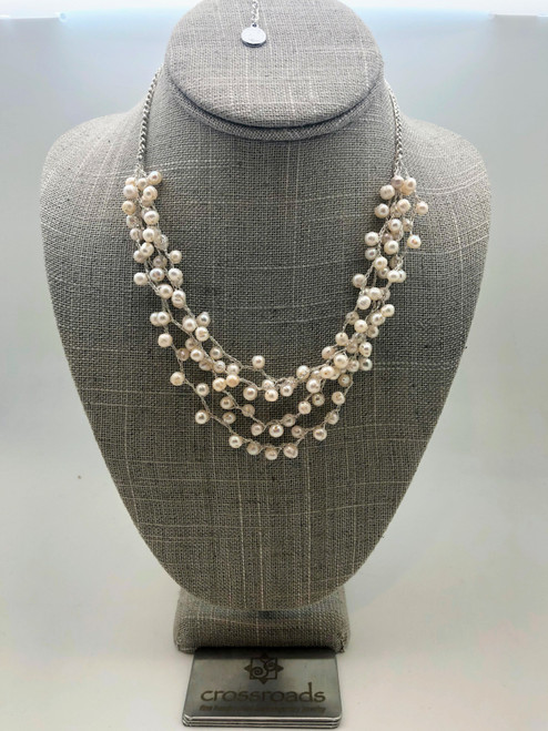 Webbed Beads White Silver