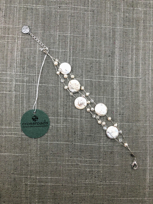 Bead Disks White Silver Anklet