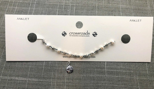 Simple Beaded Gray White Anklet