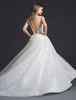 Lazaro 3662 Ivory silver shimmer tulle bridal ball gown, V neckline front and back, sweetheart lined bodice, natural waist, box pleated skirt, chapel train.
