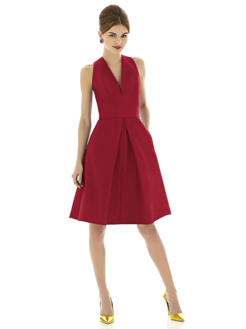 75b3625111f Alfred Sung Style D610 Fabric  Dupioni Cocktail length v-neck dupioni dress  w