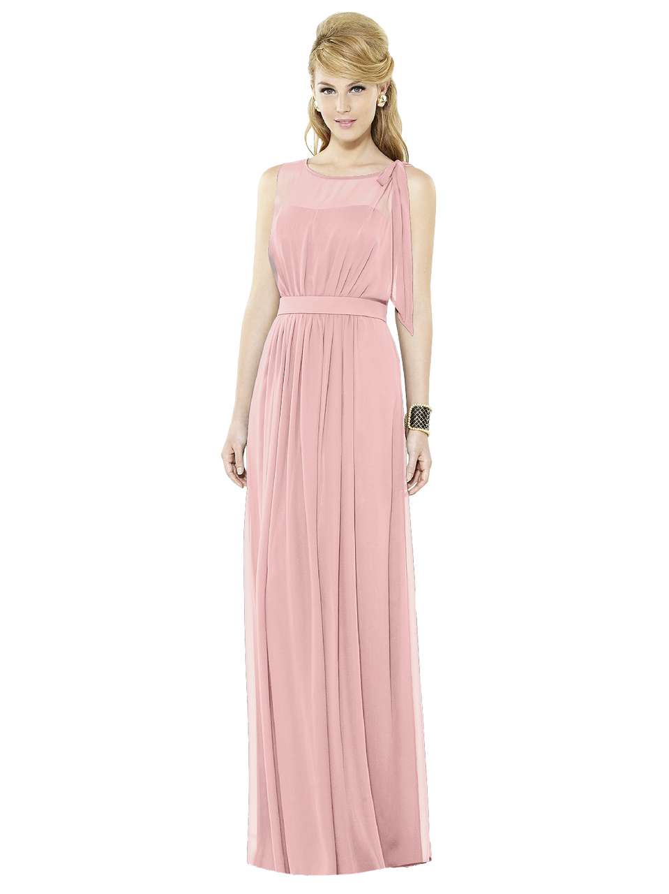 429e819b50a6 After Six Bridesmaids Style 6714 Full length sleeveless lux chiffon dress  w/ sheer top over