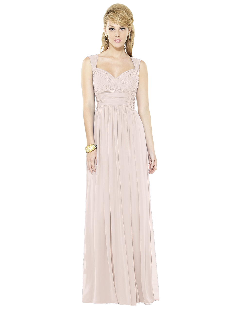 f6b7971bb8 After Six Bridesmaids Style 6712 Full length lux chiffon dress with  sweetheart neckline and pleated straps