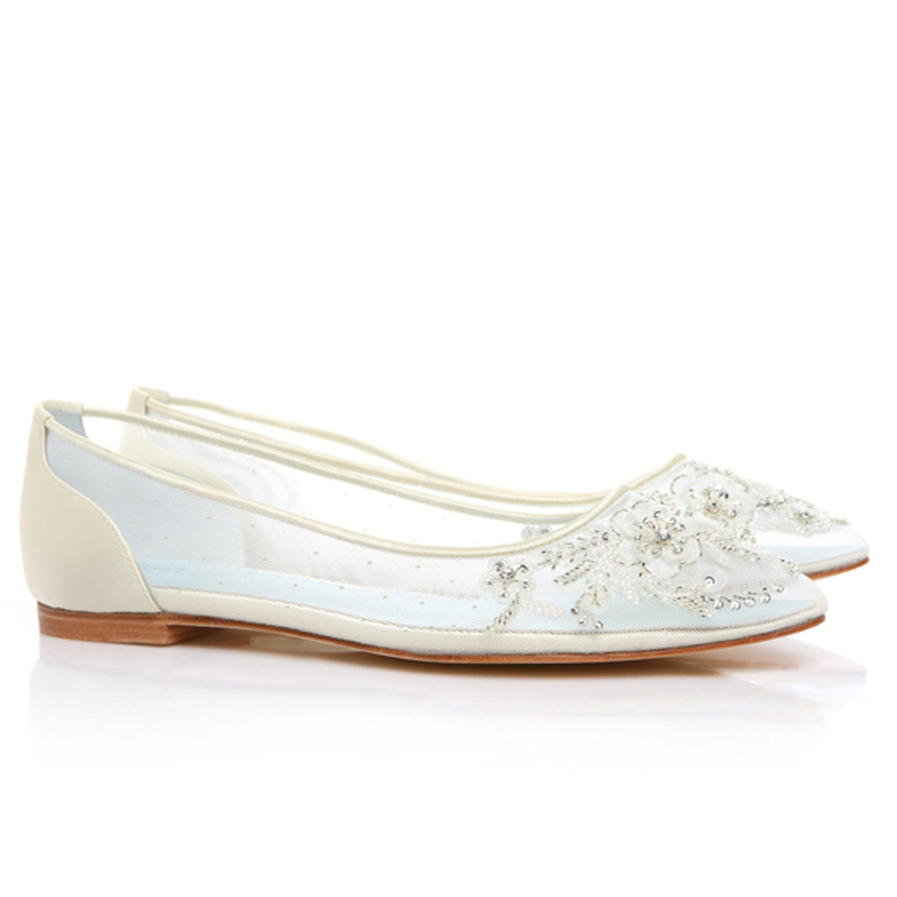 9a91d84a222 Adora  Eternal  bridal collection Romantic mesh flats with floral beading  Hand beaded and embroidered