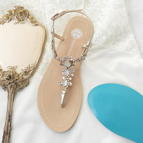 8c4cb5b58 ... Thong sandal Vintage-inspired rows of crystal jewels and white  onyx-like stones Jewels