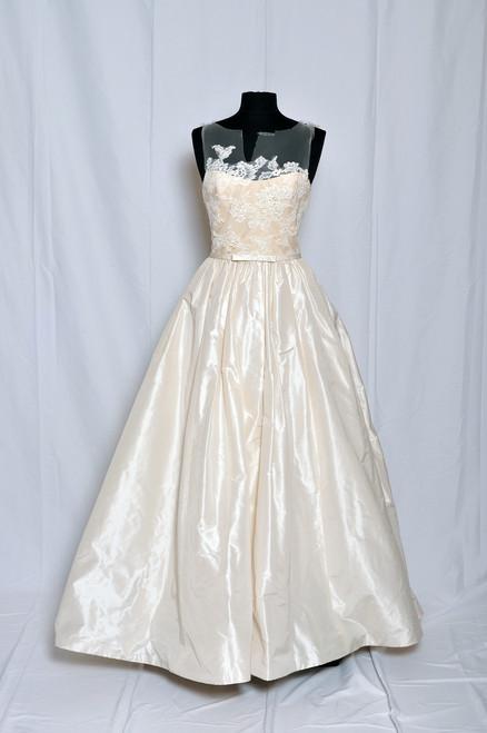 Amsale Bridal RYAN Silk taffeta natural waist ballgown with corded lace bodice.