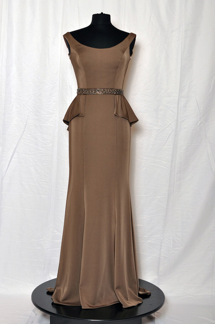 Tip-of-the-shoulder crepe fit and flare gown with front and back wide scoop necklines, hand-beaded natural waist with high-low pleated ruffle peplum, sweep train. Matching shawl included.