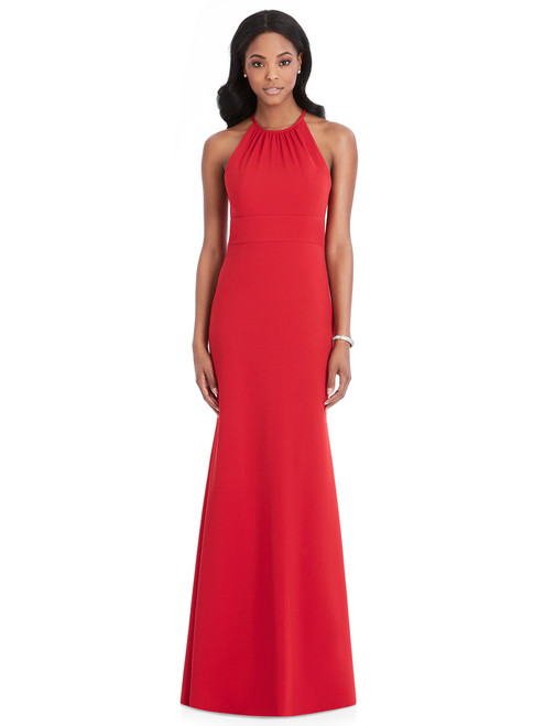 Full length stretch crepe dress w/ shirred halter neckline and triangle cut out at back. Inset midriff at natural waist. Trumpet skirt. Sizes: small,medium,large
