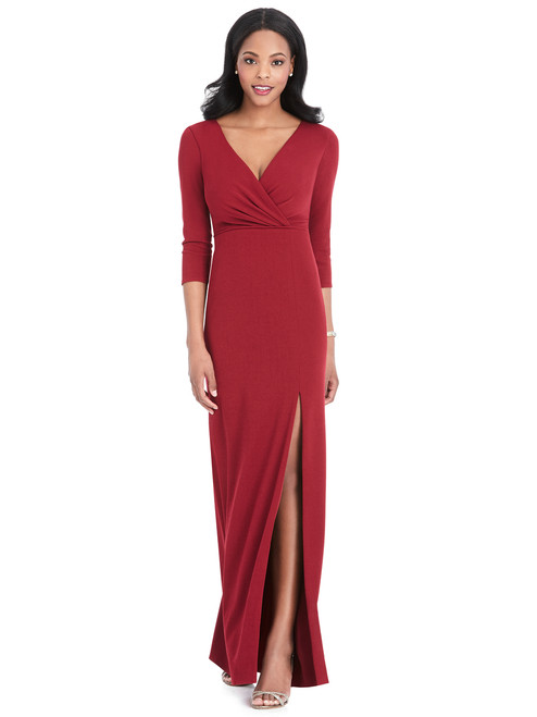 Full length stretch crepe dress w/ 3/4 length sleeves and draped surplice bodice. V-back and natural waist. Trumpet skirt has side front slit. Sizes: small,medium,large