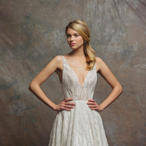 V-neck natural waist a-line gown with fully beaded white pearls & clear crystal sequins throughout.