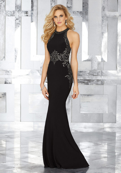 Form Fitting Jersey Special Occasion Dress with Crystal Beaded Embroidery
