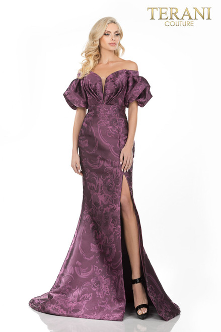 Gathered off shoulder sleeves and bodice on high waited gown in tonal Rose pattern Jacquard, slit skirt.