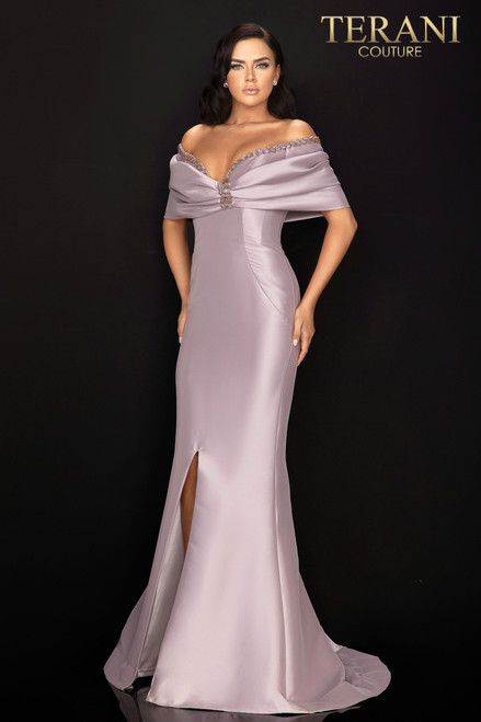 Stretch Mikado off shoulder gown with matching short capelet cover up that bares a matching bead trim