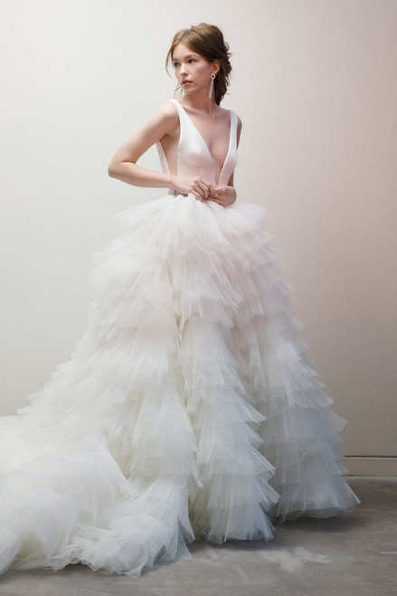 Frothy textured ballgown with plunging V neckline bodice