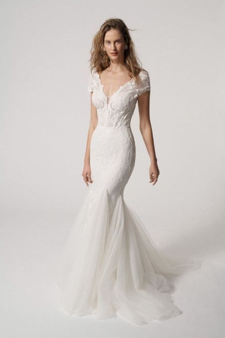 Deep V fit and flare gown with cap sleeve and frothy cascading tulle gores.