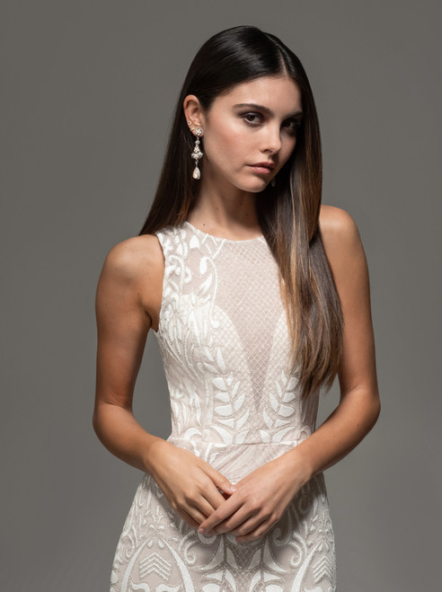 Ivory/cashmere sparkle embroidered trumpet gown, jeweled illusion neckline with deep sweetheart bodice, natural waist, chapel train.