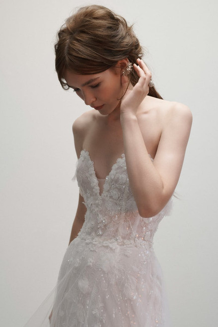 Strapless sweetheart sheath with A-line overskirt in textured tulle detail