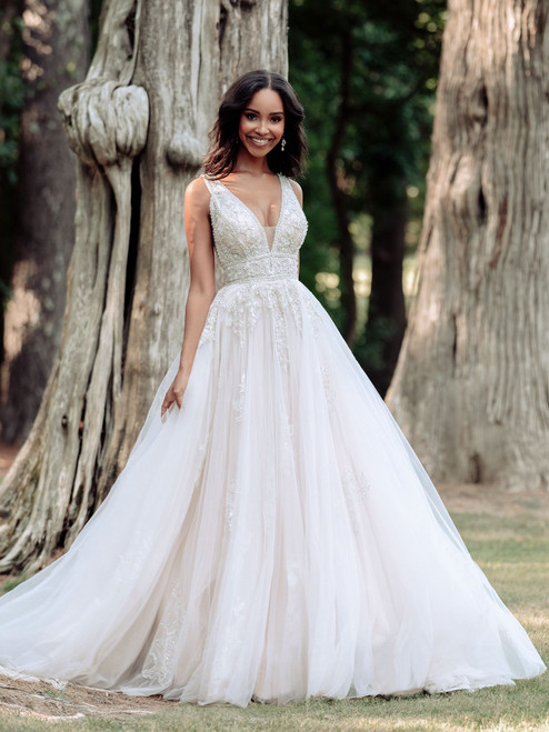 Ornate beading covers the bodice of this classic bridal style.
