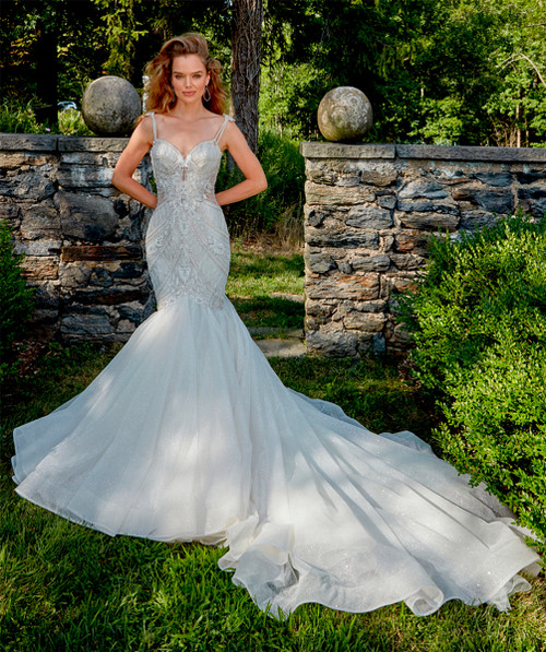 on the shoulder hand embroidered and beaded bodice with sculptured neckline, fit and flare sparkle skirt, chapel train.