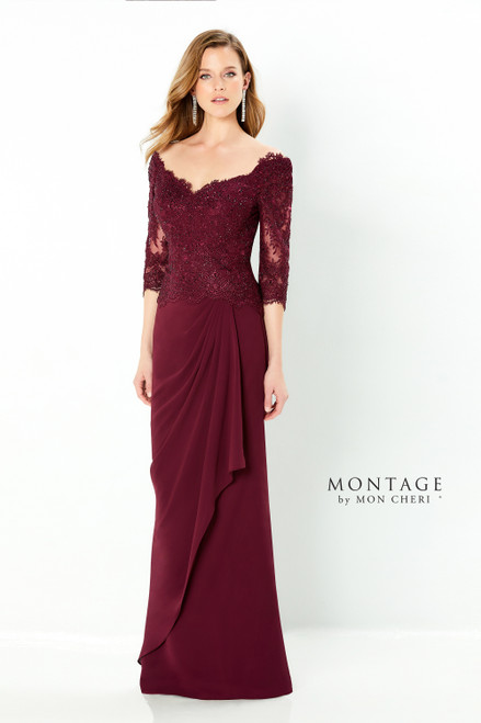 Three quarter sleeve off the shoulder chiffon and lace fit and flare gown with a soft v-neckline, drop waist with a cascading detail, soft v-back, a sweep train and crystal accents .