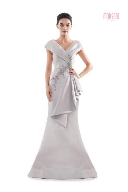 double-faced satin fit and flare dress with the wrapped bodice, side pleated ruffle, beading applique