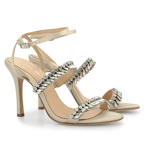 Belinda crystal strappy evening heels is a stunner from the Occasions collection. Belinda is a champagne evening heel adorned with rows of sparkling hand-beaded jewels that is incredibly chic. The ankle strap provides secure fitting and extra padding ensures you are comfortable all day